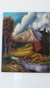 Fall stream by the mountain - Affordable oil paintings