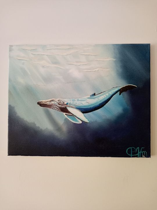 Humpback whale at the surface - Affordable oil paintings