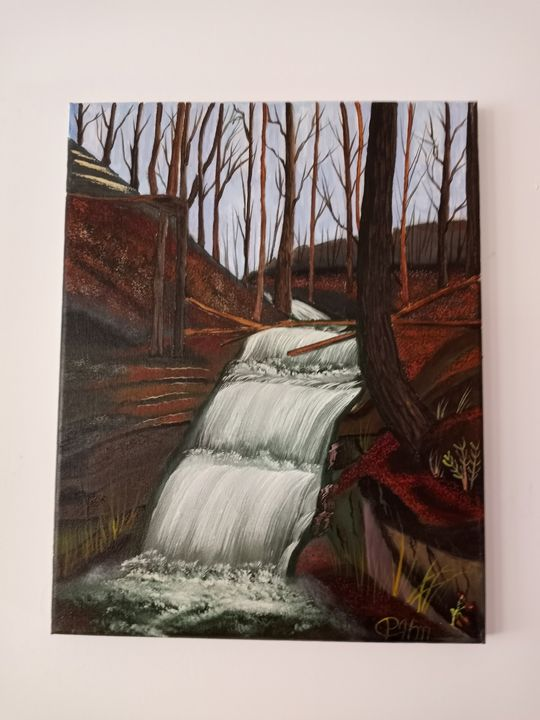 waterfall in the park - Affordable oil paintings