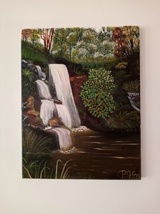 waterfall with deep pond
