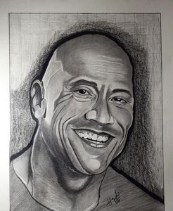 A portrait sketch of dwayne jhonson