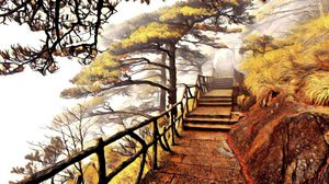 Fog Shrouded Steps at Huangshan
