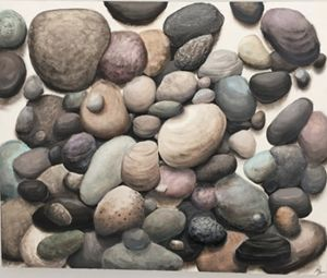Glazed stones, oil painting