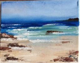 Beach landscape, oil painting