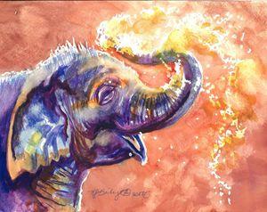 Happy Baby Elephant Watercolor