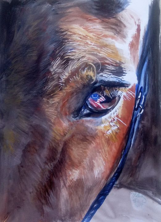 American Made - Horse Watercolor - NancyJBailey