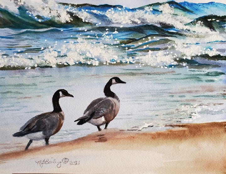 Canada Geese On Shore - NancyJBailey