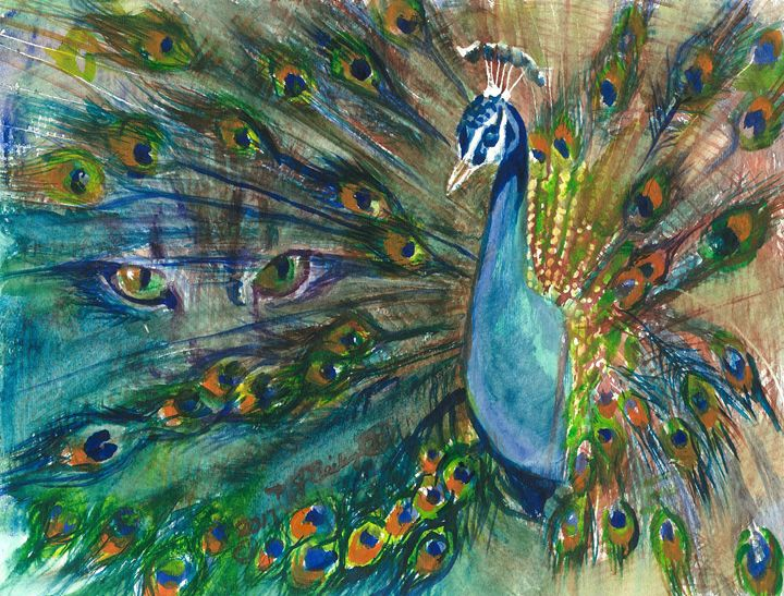 Bright Eyes Peacock Watercolor - NancyJBailey