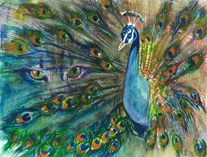 Bright Eyes Peacock Watercolor
