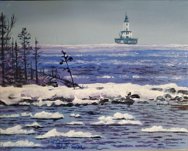 DeTour Reef Light in Winter - NancyJBailey