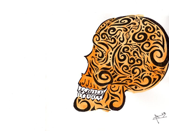 Orange tribal Skull - Primal Creatures
