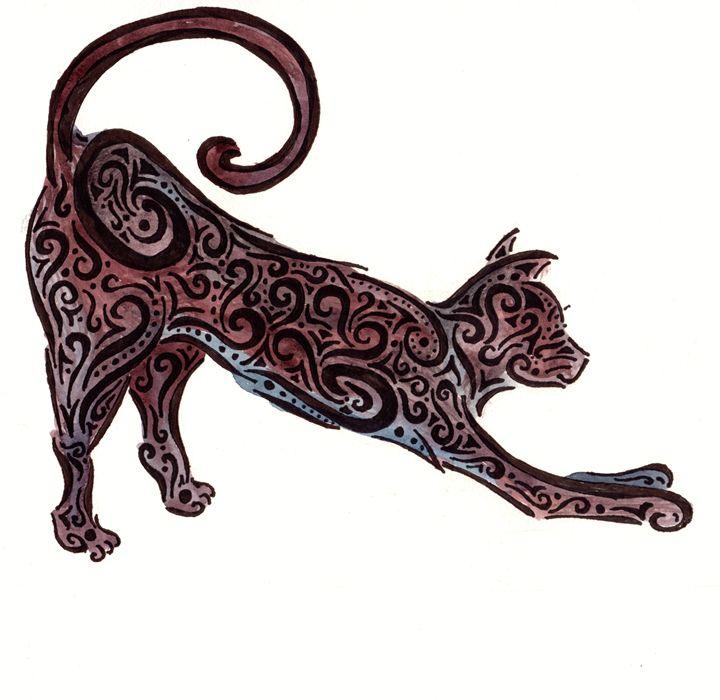 Black Cat Tribal - Primal Creatures - Paintings & Prints