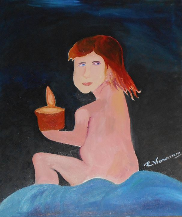 Girl with candle - Aar Vee Collection