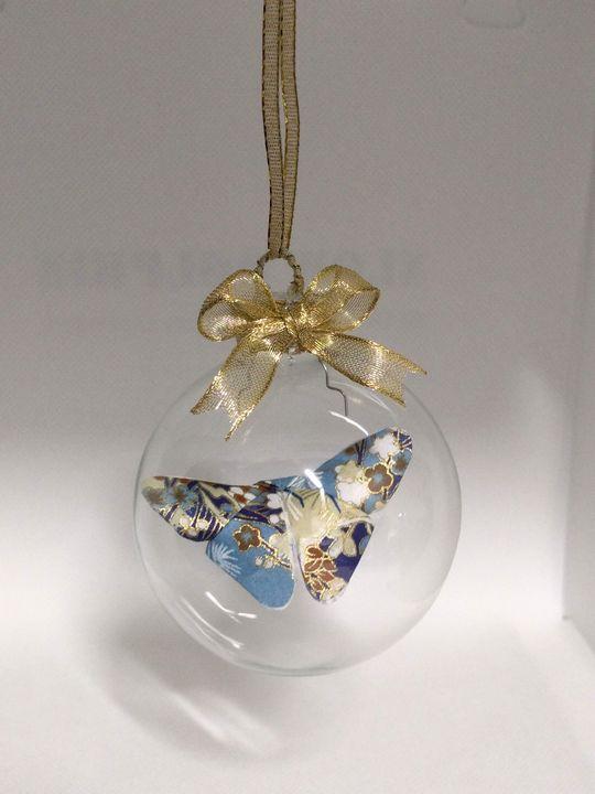 Blue & Tan Butterfly Ornament - Starfruit Sky