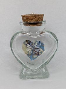 Blue & Tan Heart in a Bottle - Heart