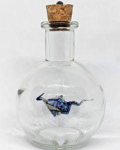 Silvery Blue Dragon in Potion Bottle