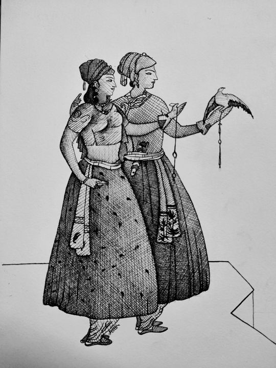 Nur Jahan with Jhangir - syed akheel art