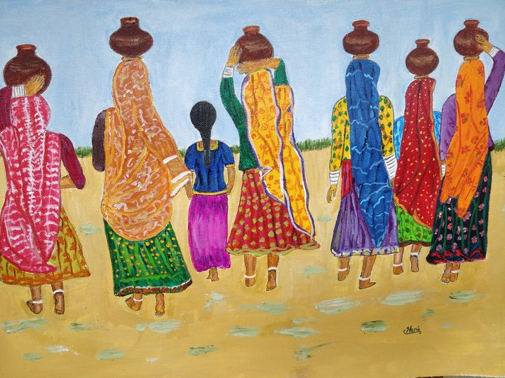 Water carriers in vibrant colours - elizabeth samuel