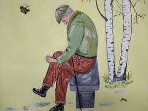 Old man and the butterfly