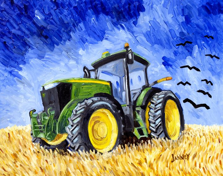 Wheatfield with Crows and a Deere - Rich Janney Artwork