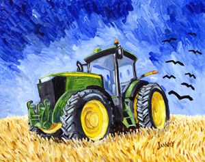 Wheatfield with Crows and a Deere