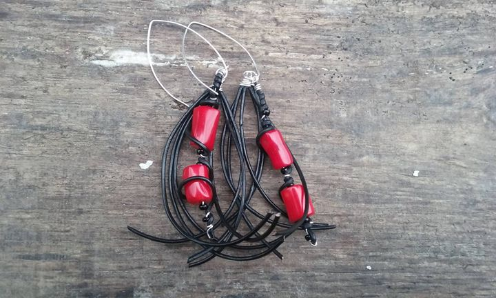 Leather and Bamboo Earrings - Huckster Artistry