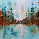 "28x28"" Cityscape Original Painting"