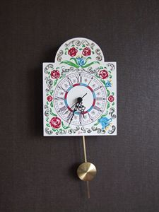 Wall clock with pendulum - handmade