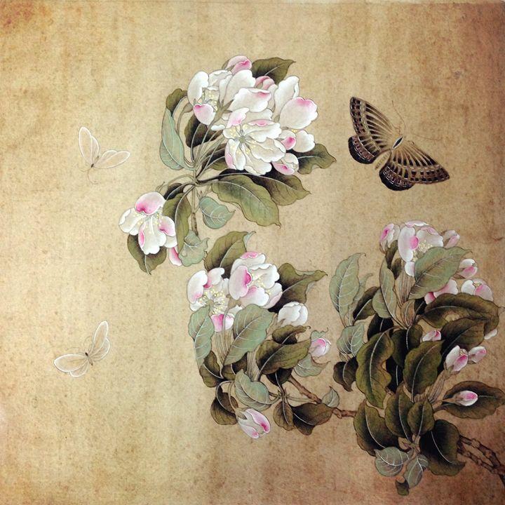 Begonia & Vanessa 海棠蛱蝶图 - Icy.Liu's Chinese Painting