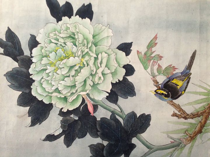 Green Peony with Magpie - Icy.Liu's Chinese Painting