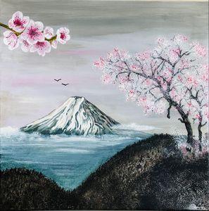 Les cerisiers en fleurs au Mont Fuji