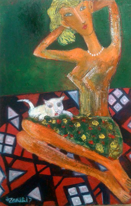 Girl and cat - ZAKIR ART
