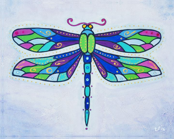Stained Glass Dragonfly - Mystic Hare