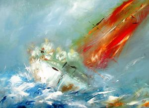 semi abstract sailing painting - www.pixi-art.com