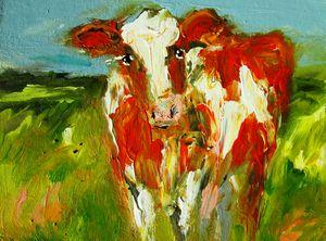 painting of brown irish cow- bovine