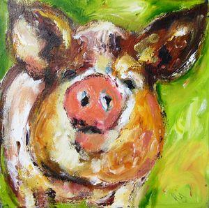irish piglet on canvas 2018