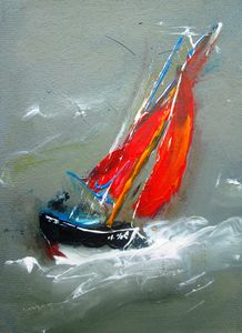 painting  galway hooker sailing boat