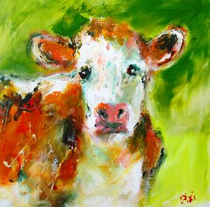 painting of  irish bovine cow art
