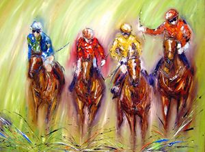 Four Horse race- art print on canvas
