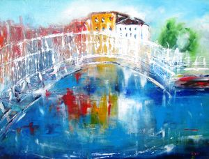 painting of halfpenney bridge dublin