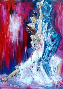 romantic tango dancing painting