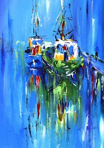 semi abstract sailboats