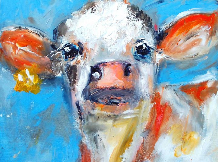 friendly cow on canvas - www.pixi-art.com