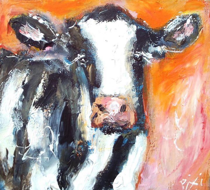irish bovine on red - www.pixi-art.com
