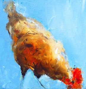 abstract chicken on blue