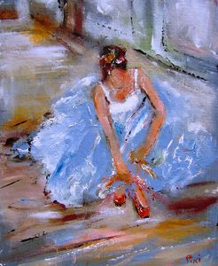 a painting of a seated ballerina