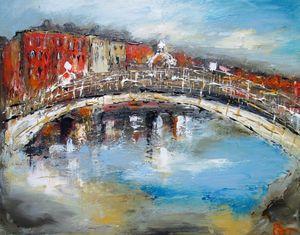 painting of halfpenny bridge dublin