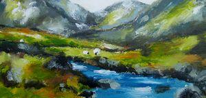 sheep grazing in connemara