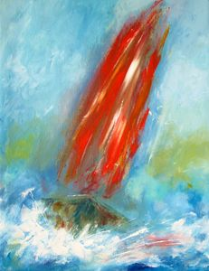 misty red sails on the ocean