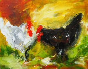 semi abstract painting of two hens
